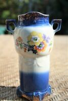 Vintage Czechoslovakia Victorian Double Handled Flower Vase Painted 5 3/4""