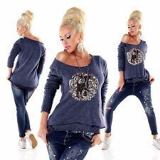 Italy Moda X-Mas Pailletten Reh Print Mohair Strick Pullover Gr. 36 38 40 Blau