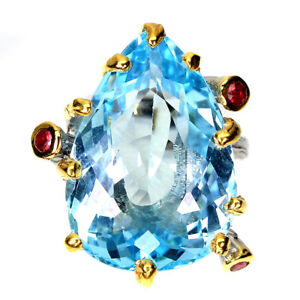 Handmade Natural Pear Sky Blue Topaz 23ct Sapphire 925 Sterling Silver Ring 7
