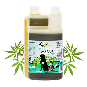 Pure Natural Pets Hemp Seed Oil For Dogs and Cats BARF 1000ml Biopurus