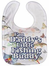 "Baby Fishing Bib ""I'm Daddy's Little Fishing Buddy"" Fish Dad Father Gift Subli"