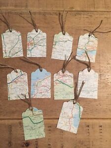 10 Map Themed Scalloped Gift Tags-weddings-birthday-place Cards