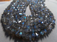 """7"""" natural LABRADORITE faceted gem stone nugget beads 6mm - 7mm blue green"""