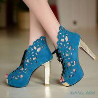 ladies stiletto high heels lace up peep toe platform plus size 2-8 zipper shoes