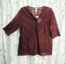 CATHERINES MAROON OPEN WEAVE RUFFLE MESH LACE STRETCH KNIT TOP SHIRT~2X~3X~NEW