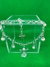 Bridesmaid bracelet - Angel, beads, Cross Silver Plated *** Free P&P ***