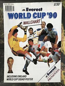 1990 world cup wallchart inc. England squad poster