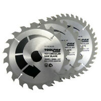 Circular Saw Blades 180mm x 30mm 3 X Blades of  20T 24T & 40Teeth By TOOLPAK