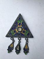 broche pendentif berbère en argent massif ethnique kabyle émail