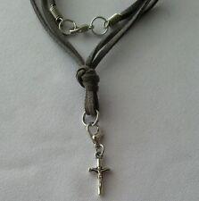 Leather Necklace Christian Cross Pendant Handmade Surfer Men's Woman Choker Gray