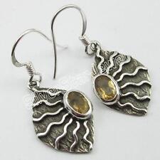 925 Solid Sterling Silver CITRINE Dangle EARRINGS 1.4 Inch ! Women's Jewelry