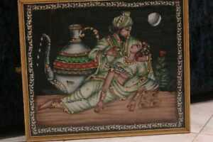 Handmade Painting silk Beautiful Antique 18th-19th Century Islamic Large Qajar