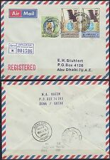 1988 Qatar R-Cover to Abu Dhabi, DOHA INTERNATIONAL AIRPORT cds/label [bl0130]
