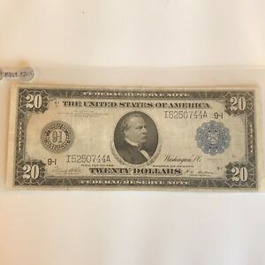 $20 FEDERAL RESERVE LARGE SIZE NOTE 1914 MINN   ON SALE!!