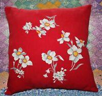 Vintage Rare Wilendur Jonquils Farmhouse Mid Century Tablecloth Throw Pillow