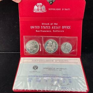 1976 3 COIN SET 925 SILVER REPUBLIQUE D' HAITI STRUCK @ U.S. ASSAY SAN FRANCISCO