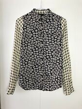 Topshop Floral Checkered Mixed Pattern Button Up Shirt Blouse UK8