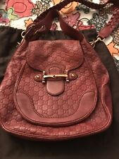 Preowned Auth Gucci New Pelham Flap Bag with Horsebit In Guccissima Red