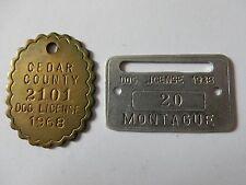 VINTAGE 1938 MONTAGUE 1968 CEDAR COUNTY MICHIGAN DOG LICENSE TAX TAGS METAL D438