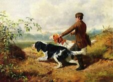 Oil painting arthur-fitzwilliam-tait-going-out young man with his dogs in scene