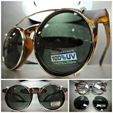 CLASSIC VINTAGE RETRO Style Clear Lens CLIP ON SUN GLASSES Matte Tortoise Frame