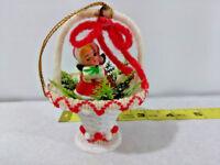 Vtg 1950's Plastic Angel Girl in White & Red Christmas Basket Ornament