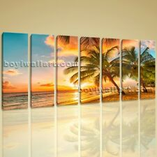 Huge HD Canvas print 7 Pieces Framed Beach Wall Art Palm Tree Sunset Seascape