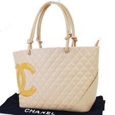 Authentic CHANEL CC Logo Cambon Shoulder Tote Bag Patent Leather Beige 72ET543