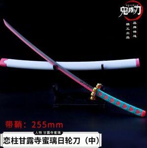 TOY 1:5 weapon sword Demon Slayer Kanroji Mitsuri Samurai Metal Katana 26cm