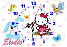 horloge pendule murale chat lapin kitty personnalisable au choix réf F 43