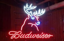 "New Budweiser Deer Beer Bar Man Cave Neon Light Sign 17""x14"""