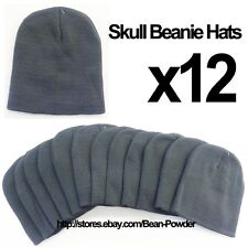 **CHARCOAL DARK GRAY** WHOLESALE LOT OF 12 PLAIN BLANK SOLID SKULL BEANIE HATS