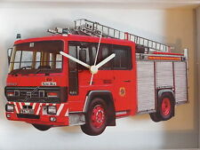 RED VOLVO FIRE ENGINE WALL CLOCK.NEW AND BOXED.