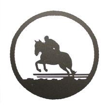 "Equestrian Hunter/Jumper black metal 10"" round metal wall art decor plaque"