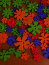20 Beutron Novelty Button Mystery Mix Bright Color Flower Shape Great Scrapbook