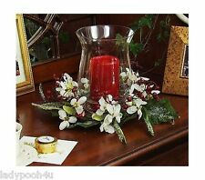 "Snowdrops Centerpiece 5"" Flameless Candle & Holder Christmas Hurricane Globe 8"""