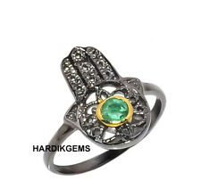 Natural Rosecut Diamond & Emerald Victorian Handmade Ring Jewelry Sz 10 US