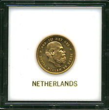 NETHERLANDS 1876 GOLD 10 GULDEN CH BU IN PLASTIC HOLDER