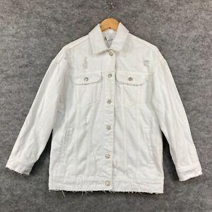 Zara Womens Denim Jacket Size XS White Distressed Long Sleeve Oversized 272.05