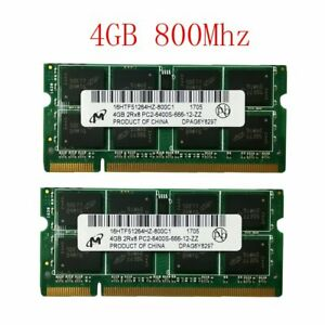 8GB 2 x 4GB / 2GB DDR2 800MHz PC2-6400S 200PIN Laptop RAM SODIMM For Micron Lot