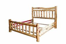 Rustic Red Cedar Log Bed Full Size Wagon Wheel Style Complete