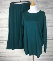 Coldwater Creek Women's 2-Piece Green Knit Skirt / Top Set Size Large