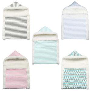 Newborn Baby Hooded Sleep Bag Fleece Blanket Swaddle Universal Stroller Wrap