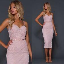 Elle Zeitoune Designer Womens Embroidered Midi Pink Lace Corset Cocktail Dress