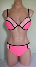 California Waves Coral stitched push up underwire bikini swimsuit set size L