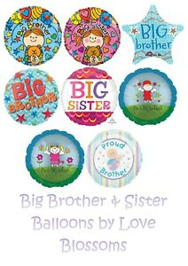 Big Brother Sister Balloons Welcome New Baby Shower Novelty Gift Foil Helium