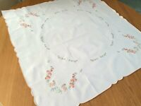 "Vintage White square tablecloth - Cotton 36''x 36"" / 81 x 82 cm orange flowers"