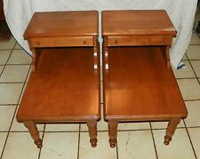 Wonderful Pair Of Maple Mid Century Step End Tables / Side Tables By Baumritter  (BM T225)