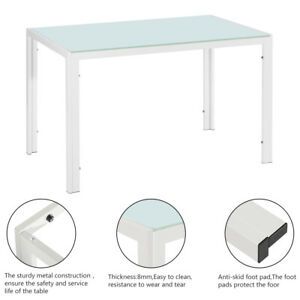 120x70x75CM Simple Assembled Tempered Glass & Iron Dinner Table White