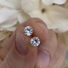 Round Created Diamond Earrings Solitaire Studs 1.0 Ct Solid 14K Real Yellow Gold